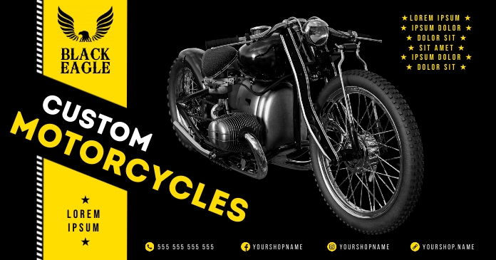MOTORCYCLE BANNER Facebook Shared Image template
