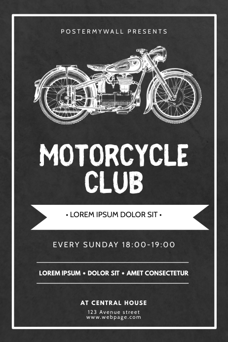 Motorcycle Club Flyer Design Template Póster
