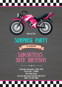 Motorcycle girl pink party invitation A6 template