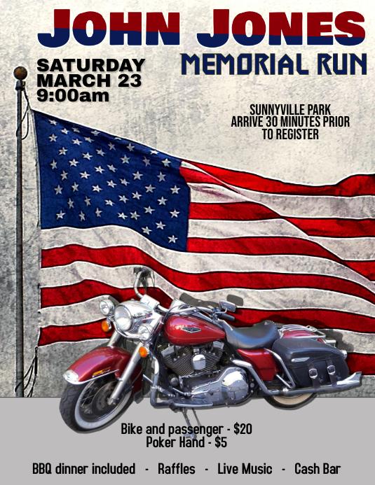 motorcycle run rally flyer template