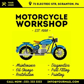 Motorcycle workshop animation video ad Square (1:1) template