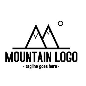 Mountain black and white logo design