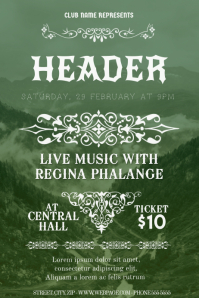 mountain indie rock style poster flyer template