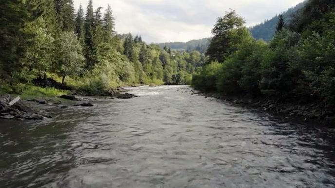 Mountain river video zoom background Présentation (16:9) template