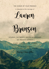 Mountain theme invitation A6 template