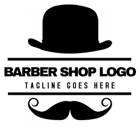 Moustache and hat barbershop logo