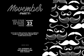 movember party flyer design template