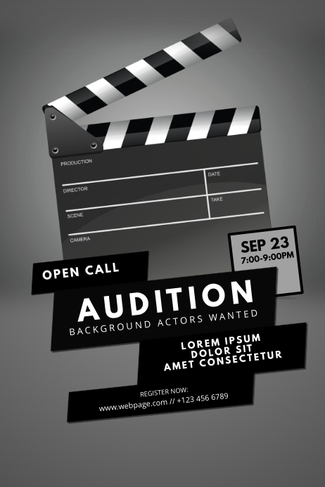 movie audition flyer template postermywall