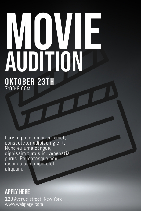 movie auditions casting call flyer template