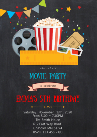 Movie birthday party invitation