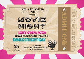 Movie girl ticket invitation A6 template