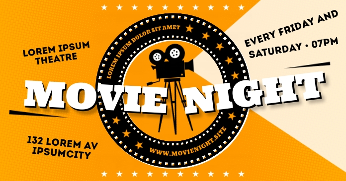 MOVIE NIGHT BANNER Gambar Bersama Facebook template