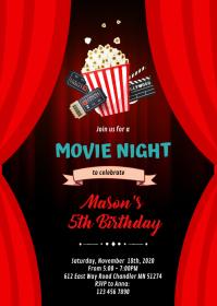 Movie night birthday invitation A6 template