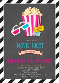 Movie night birthday party invitation A6 template