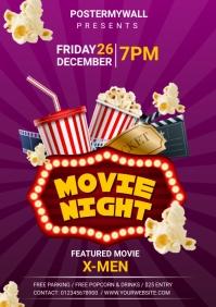 movie night A4 template
