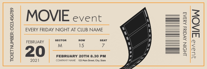movie night event grey orange and light kaki Spanduk 2' × 6' template