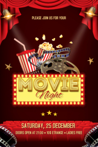 Movie Night Flyer Banner 4' × 6' template