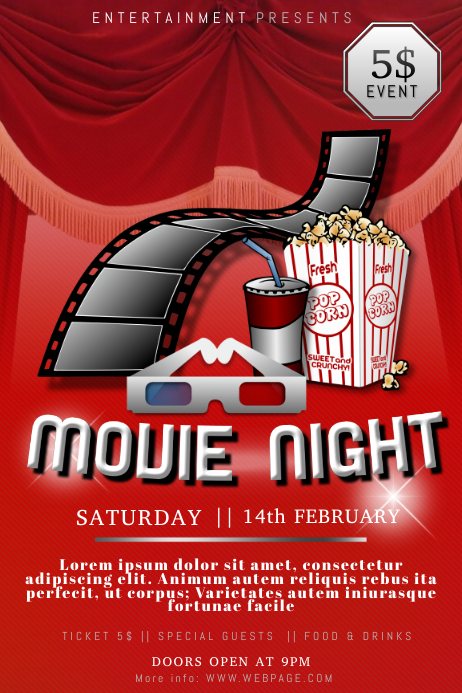 movie night flyer template postermywall