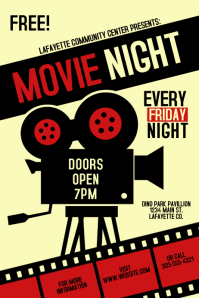 photo relating to Movie Night Invitations Free Printable known as 630+ Video clip Night time Customizable Design and style Templates PosterMyWall