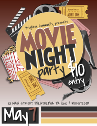 Merveilleux Movie Night. Film Festival. Movie Theater. Movie Night Flyer Template