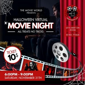 Movie Night for Halloween Invitation Instagram Post template
