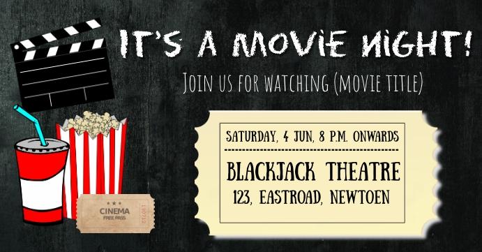 Movie Night Invitation Facebook Event Cover template