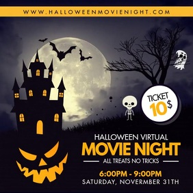 Movie Night Invitation for Halloween Instagram Post template