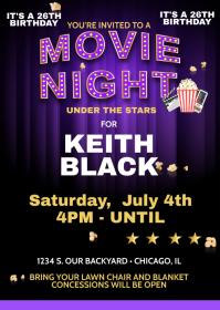 Movie Night Invite A6 template