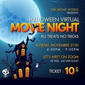 Movie Night Invite Spooky Halloween Instagram Post template