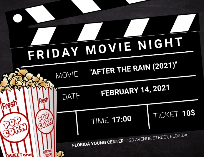 Movie Night Landscape flyer template Pamflet (Letter AS)