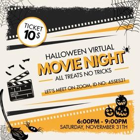 Movie Night Online for Halloween Invitation Instagram Post template