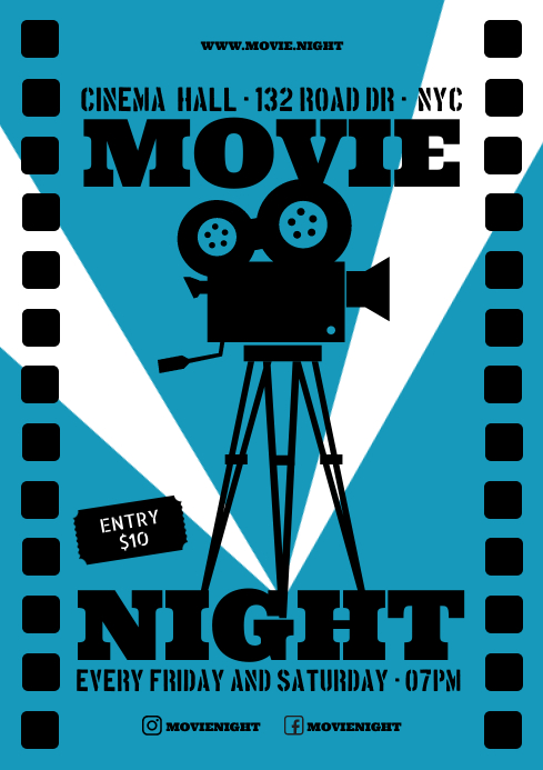 MOVIE NIGHT POSTER A4 template