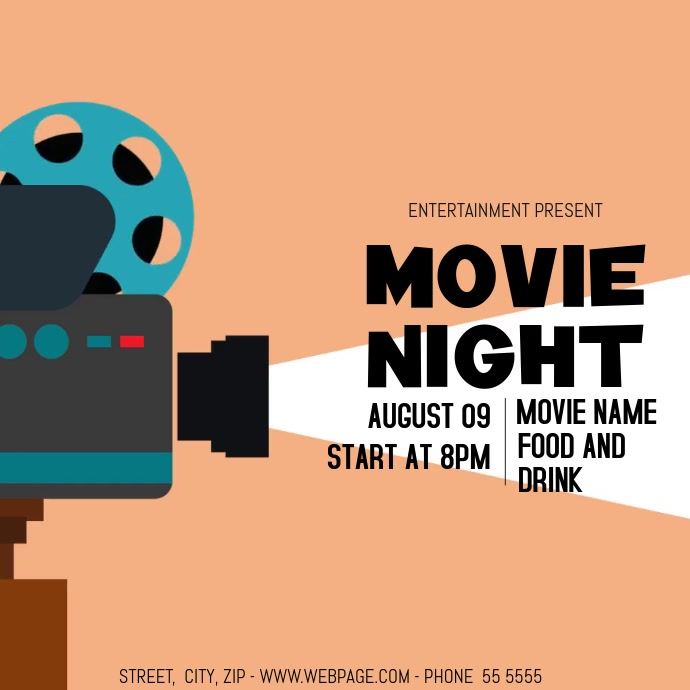 movie night video flyer template