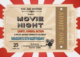Movie ticket birthday invitation A6 template