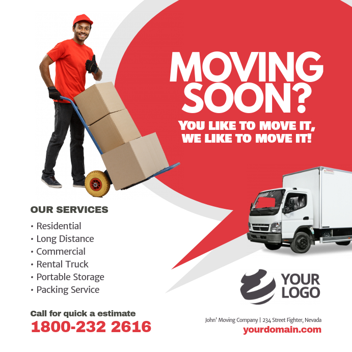 Moving Company Service Instagram Post Ad