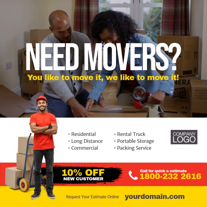 Moving Company Service Instagram Post Ad Template