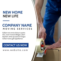 moving services advertisement blue and white