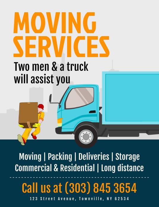 Moving Services Flyer Løbeseddel (US Letter) template