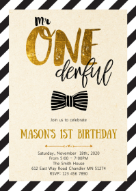 Mr onederful birthday party invitation