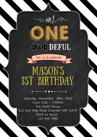 Mr ONEderful theme party invitation
