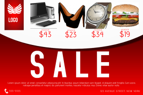 multi purpose landscape red sale flyer - shoes, computer, watch, fast food
