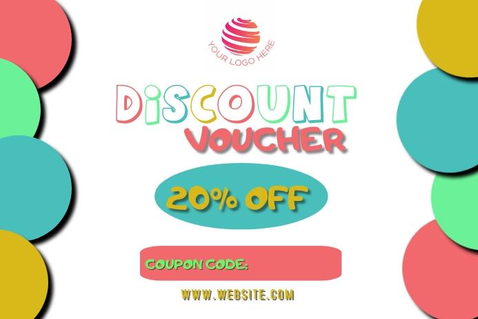 Multicolor discount voucher design customizab Label template