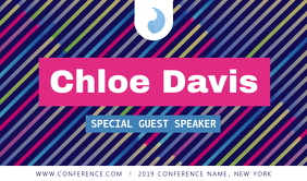 Multicolored Conference Speaker Tag Etiqueta template