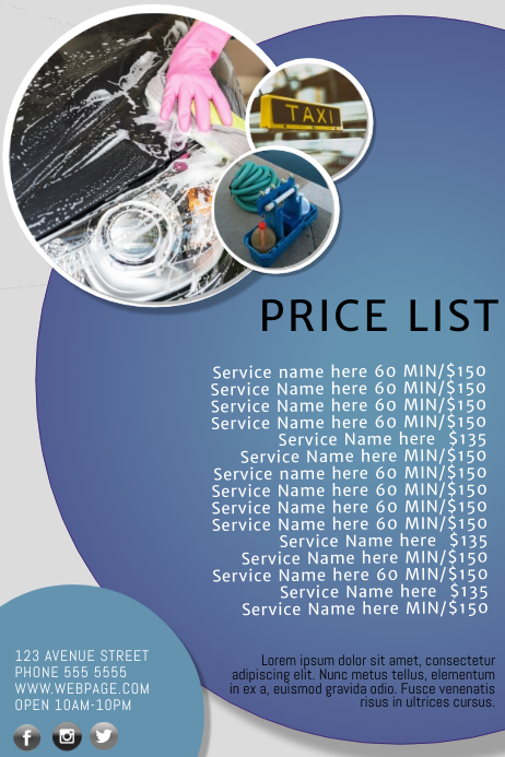 multipurpose business price list template postermywall
