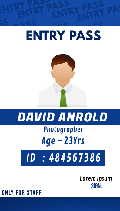 Multipurpose Business Staff id card Tarjeta de Presentación template