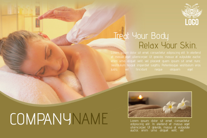 multipurpose gold spa and health flyer template landscape