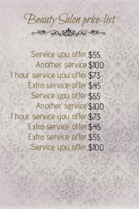 Multipurpose Spa Beauty Salon Price List Template