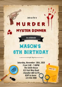 Murder Mystery Dinner Invitation A6 template