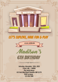 Museum birthday theme invitation A6 template