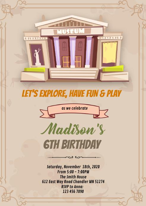 Museum birthday theme invitation A6 template